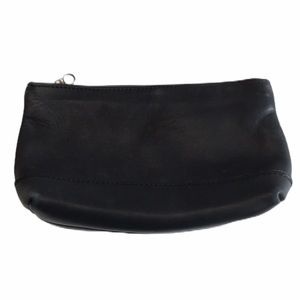 Coach Zippered Black Leather Make Up Bag